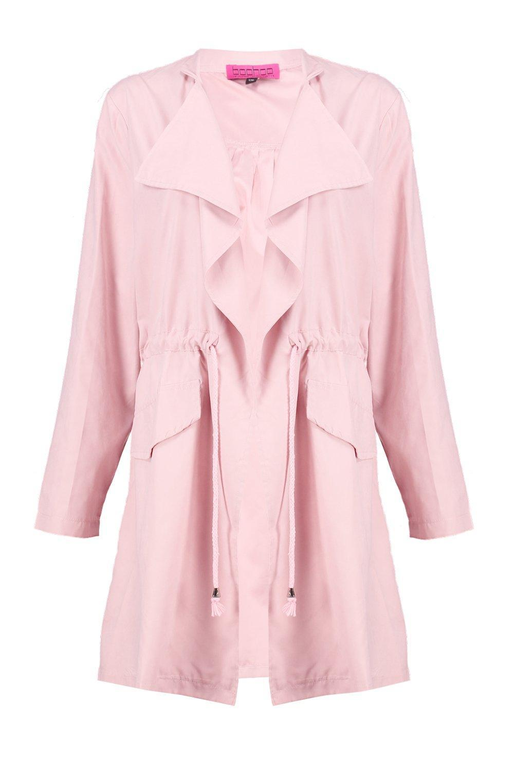 Boohoo Milly Tie Waist Waterfall Utility Jacket in Pink | Lyst