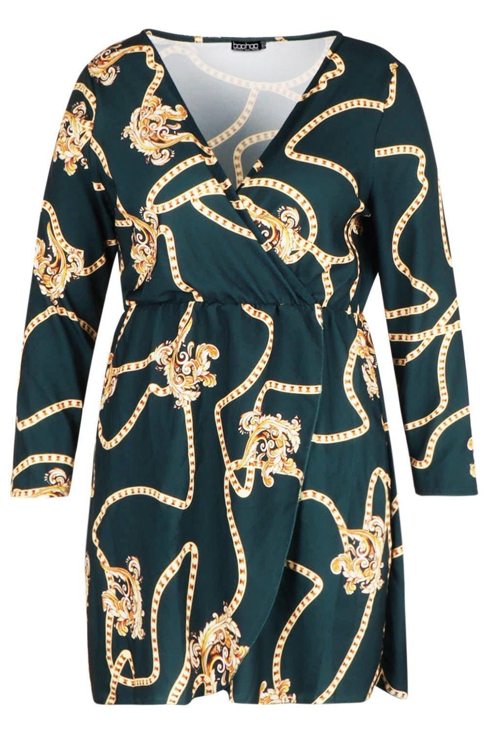 df2d6fece749c ... Green Plus Chain Printed Wrap Dress - Lyst. Visit Boohoo. Tap to visit  site