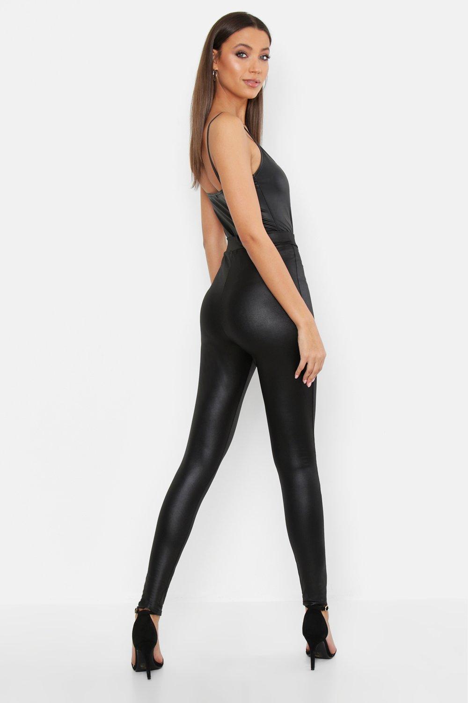 bd2fa2c2430210 Boohoo - Black Tall Leather Look Front Seam Leggings - Lyst. View fullscreen