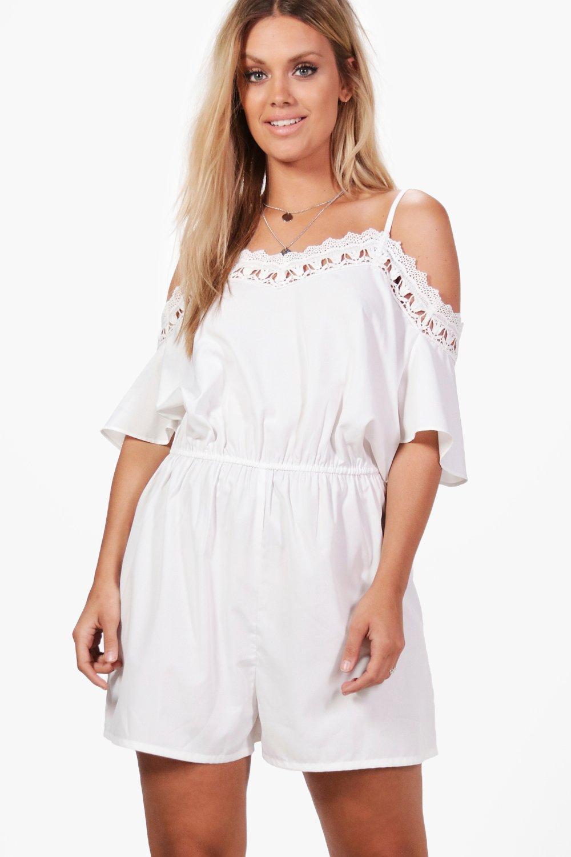 2249d6864b6 Boohoo Plus Crochet Open Shoulder Playsuit in White - Lyst