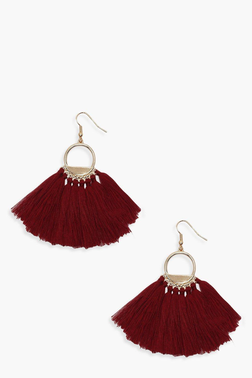 ae9678c348f Boohoo Tassel Circle Earrings in Red - Lyst