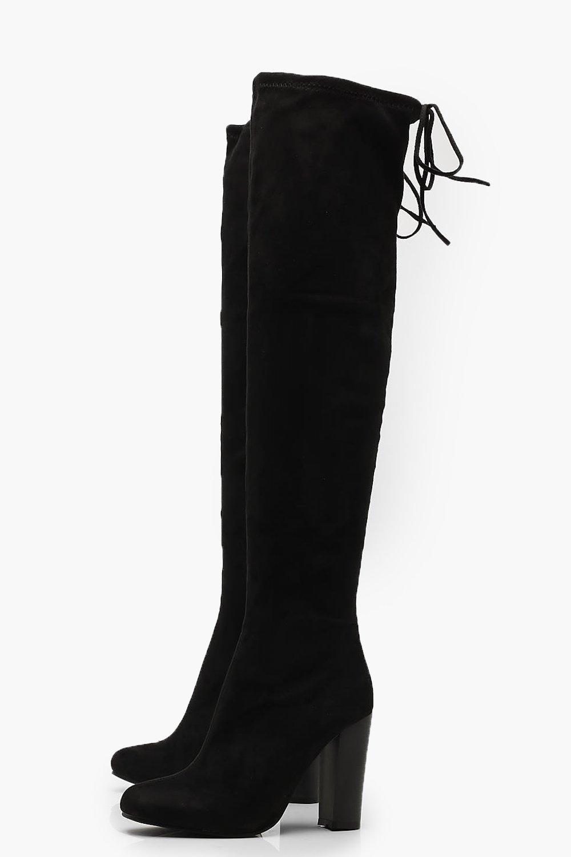 38a077625e1 Boohoo - Black Tie Back Block Heel Over The Knee Boots - Lyst. View  fullscreen