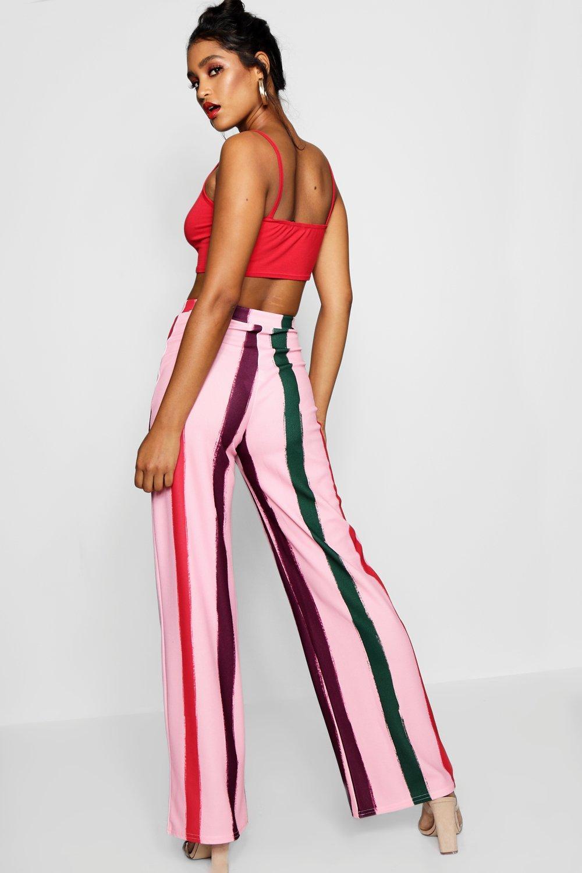 55ca85e56b5eb Boohoo - Pink Pastel Stripe Crepe Wide Leg Trouser - Lyst. View fullscreen