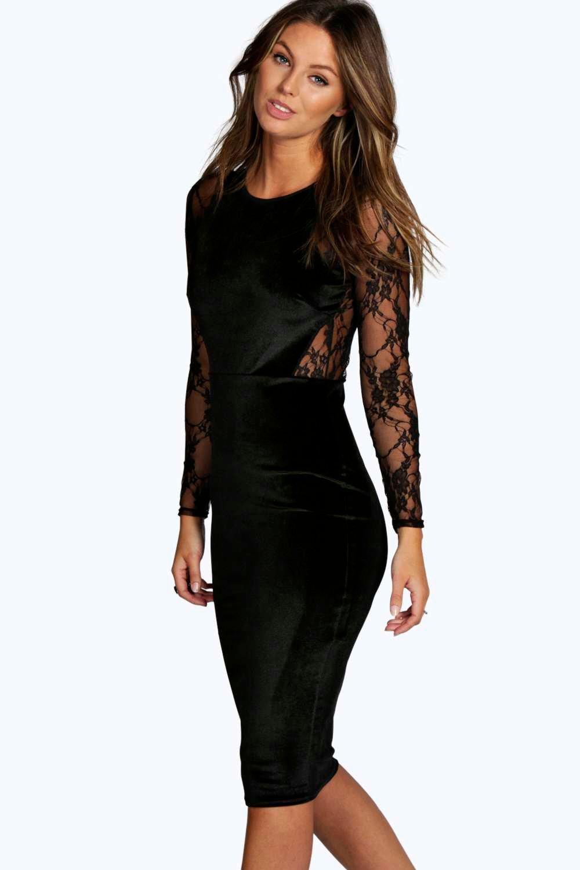 717aa0328 Caris Black Long Sleeve Lace Bodycon Dress