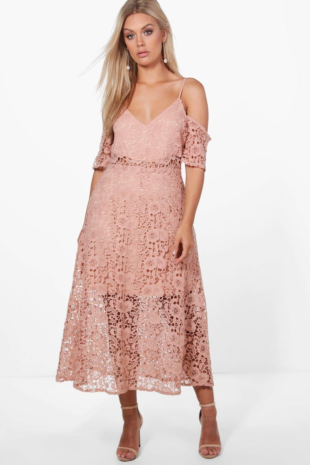 Lyst - Boohoo Plus Crochet Lace Premium Skater Dress in Pink aac84c905