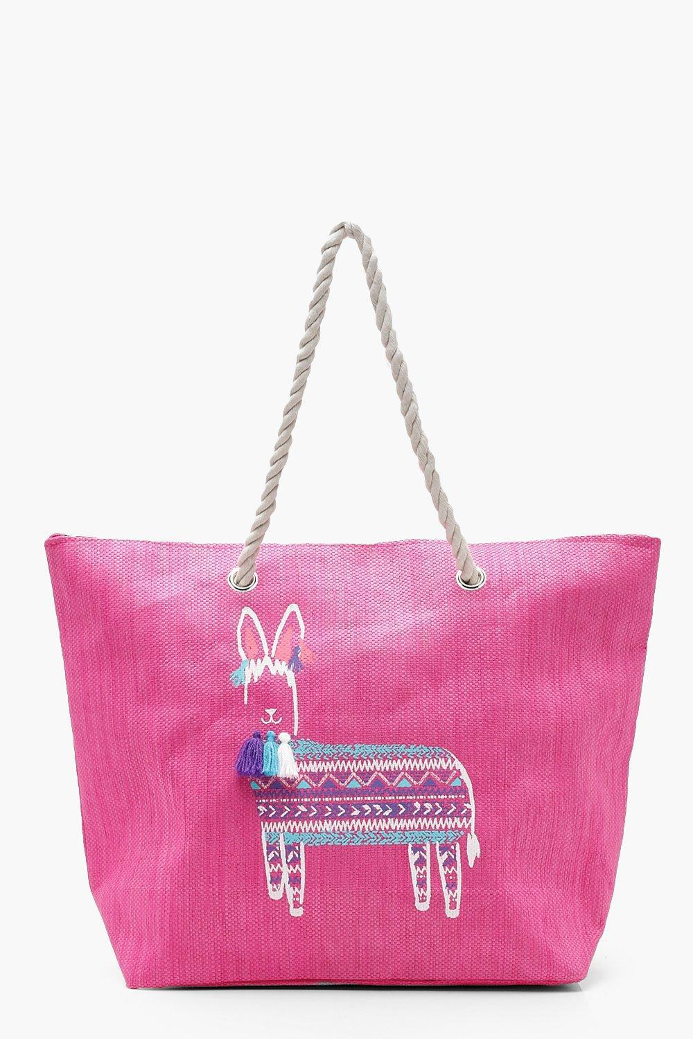 Boohoo Women S Pink Lily Tel Animal Rope Handle Beach Bag