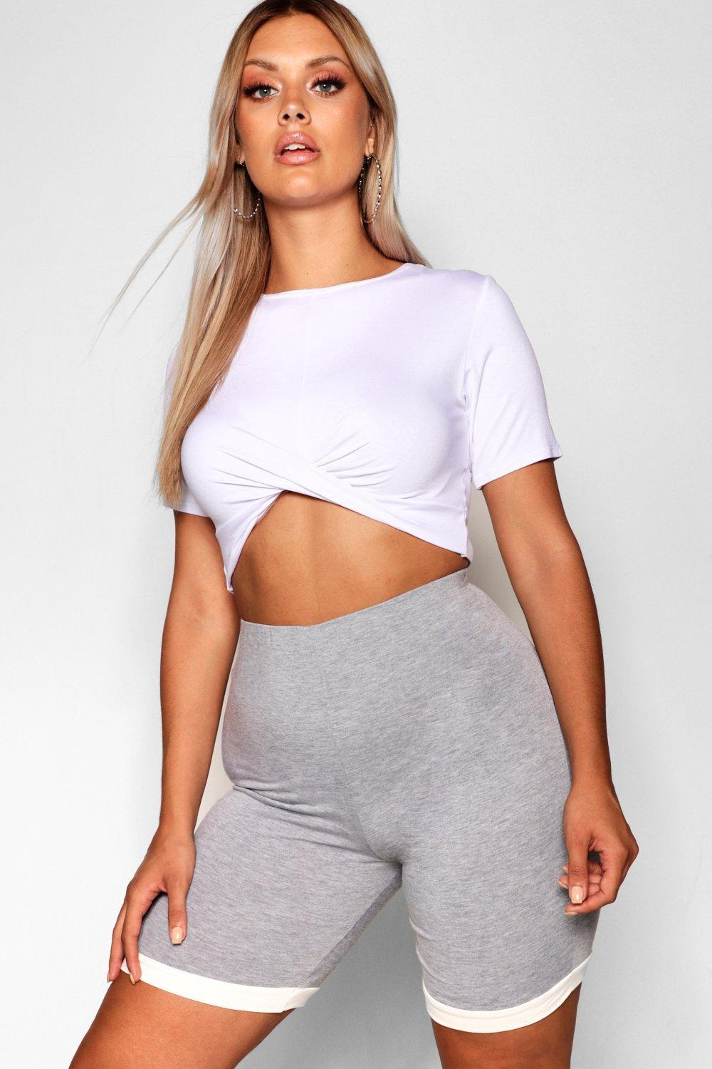 8945597903a9 Boohoo Plus Contrast Panel Cycle Short in Gray - Lyst