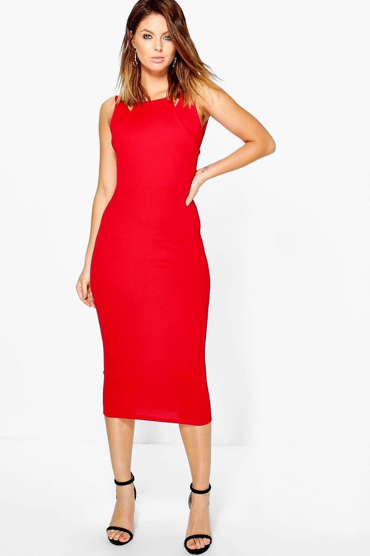 de108abf00 Lyst - Boohoo Sinead Double Strap Detail Midi Dress in Red