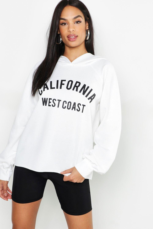 4ba8f98c4c3f Boohoo Tall California Slogan Hoody in White - Lyst
