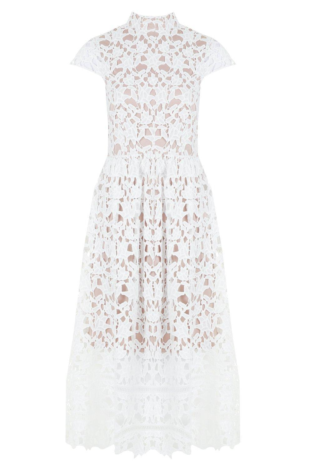 075d1979e493b Boohoo Boutique Lace High Neck Skater Dress in White - Lyst