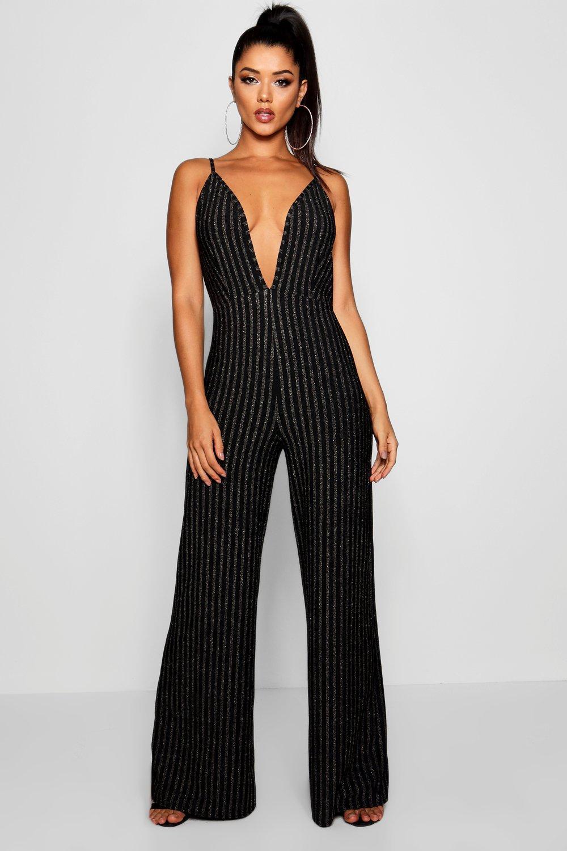 ff5eb73bfff9 Boohoo Glitter Stripe Plunge Jumpsuit in Black - Lyst