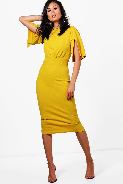 3fe412b9bd62 Boohoo Split Sleeve Detail Wiggle Midi Dress in Yellow - Lyst