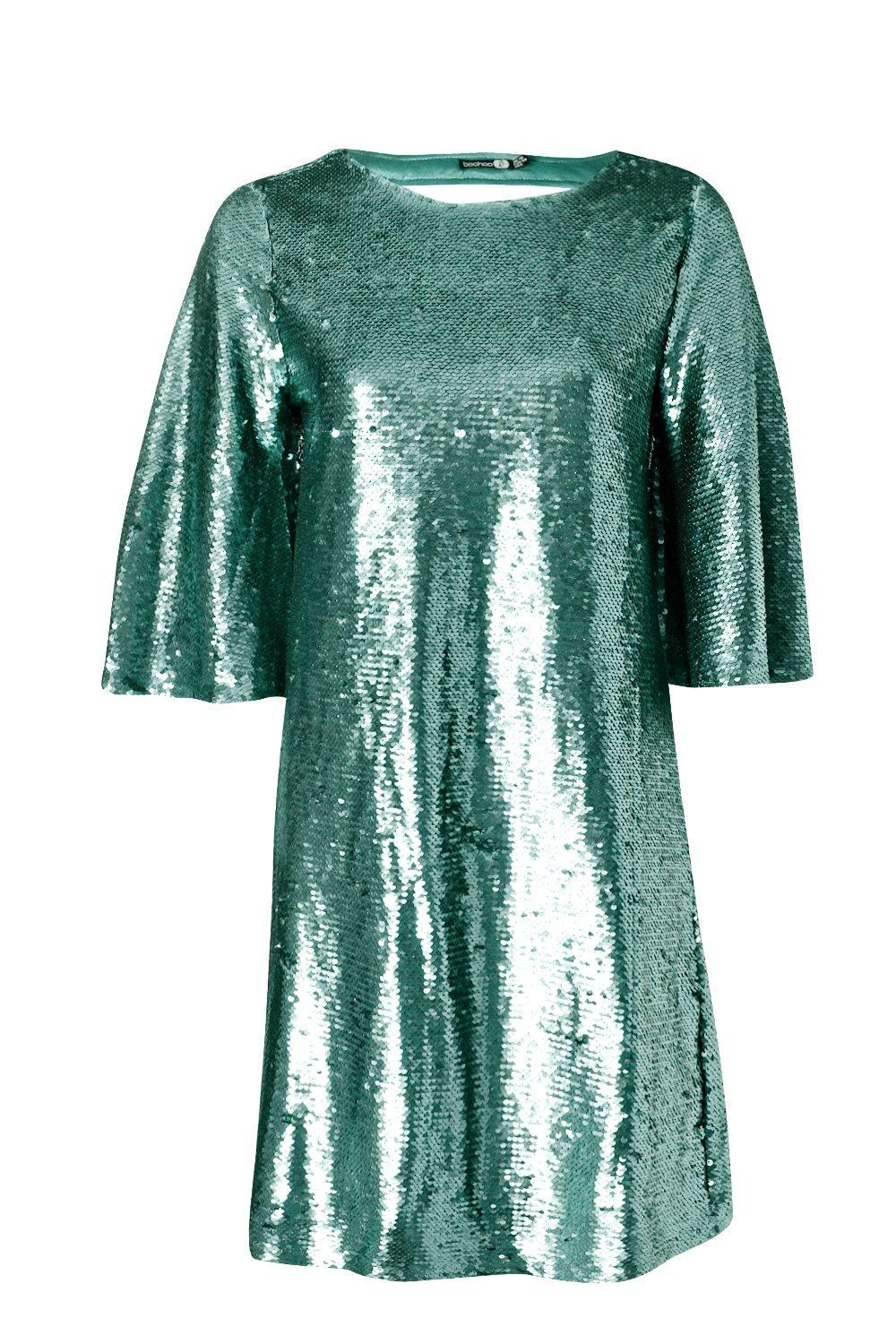 62886ebc960a5 Boohoo Boutique Leila All Over Sequin Shift Dress in Blue - Lyst