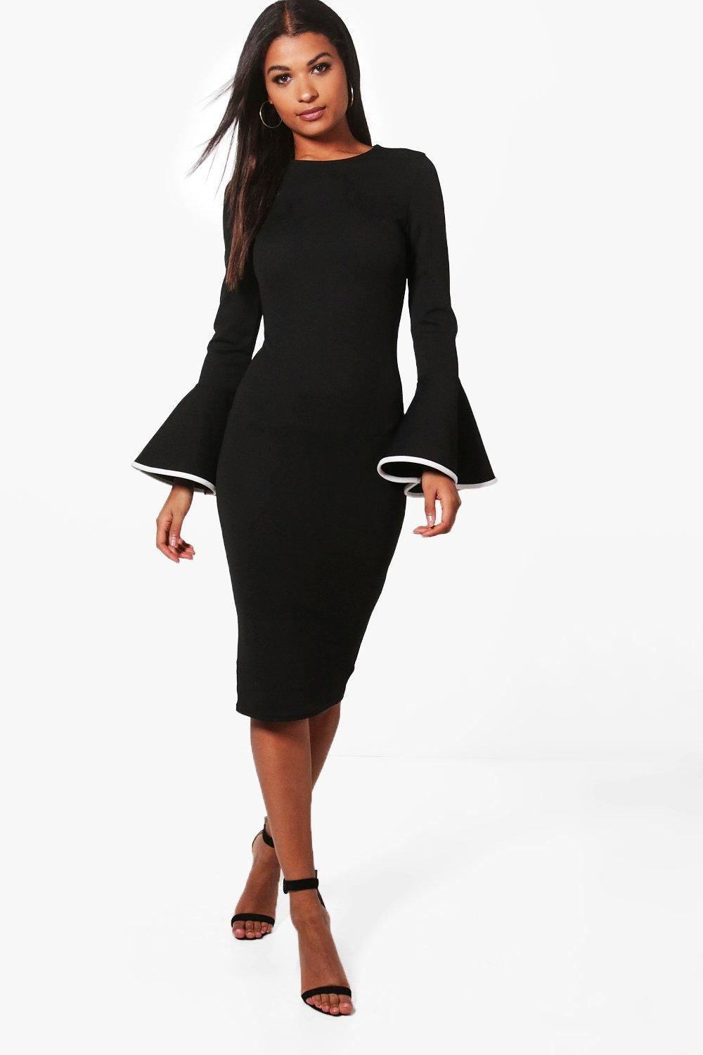 a0ab370f83 Boohoo Contrast Flared Sleeve Midi Dress in Black - Lyst