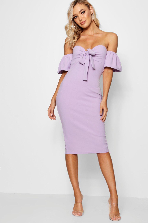 0505b641eab Boohoo Tie Front Off The Shoulder Midi Dress in Purple - Lyst