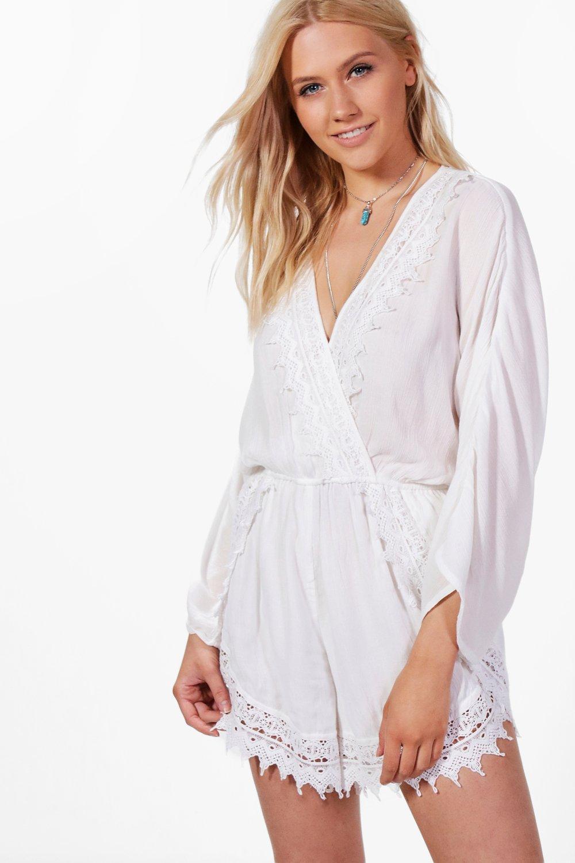 a26dd2f08c1 Boohoo Ruby Crochet Trim Flare Sleeve Playsuit in White - Lyst