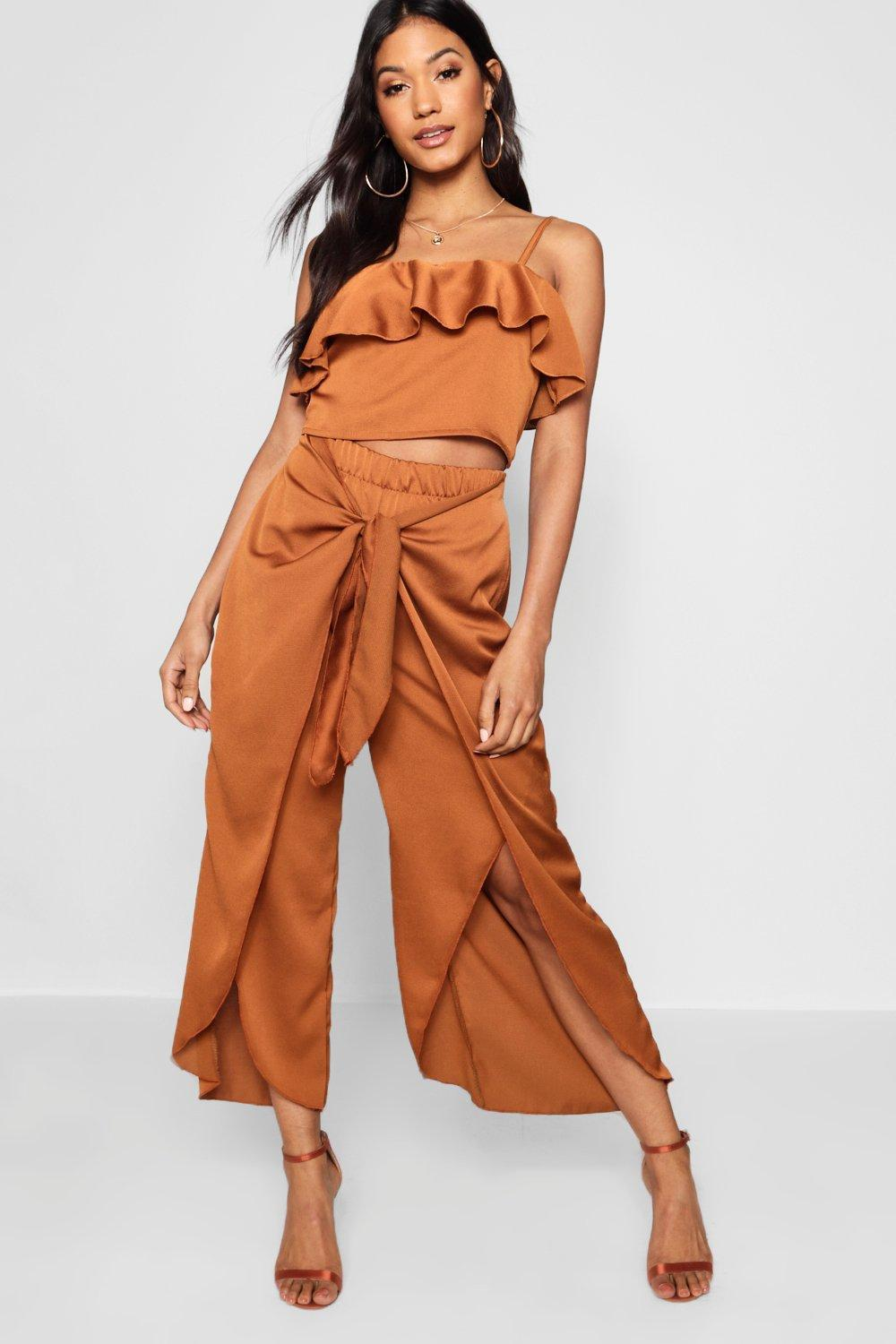 bb0a82338c Boohoo Satin Ruffle Top Trouser Co-ord Set - Lyst
