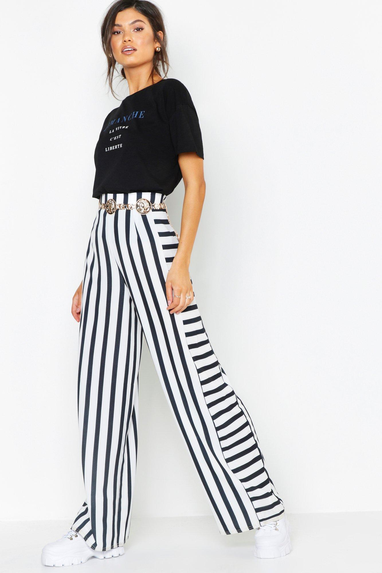 d5a6a7a76881 Lyst - Boohoo Contrast Stripe Woven Wide Leg Pants in Black