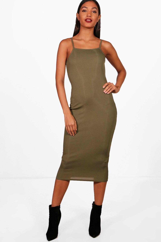 b1ccabc2d22e Boohoo. Women's Square Neck Ribbed Midi Bodycon Dress