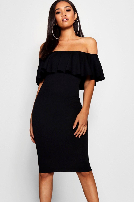 8fc9f8962e5f Boohoo Petite Bardot Frill Midi Dress in Black - Lyst