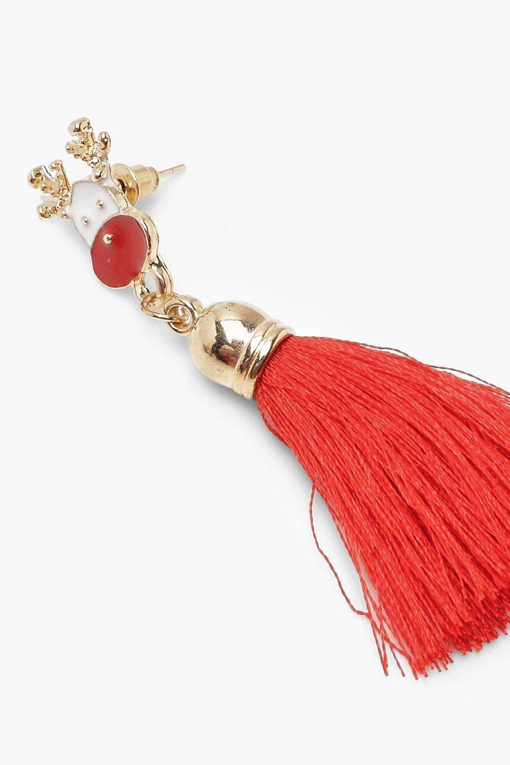 5632b9c1b33 Lyst - Boohoo Rudolph Tassel Earrings in Red
