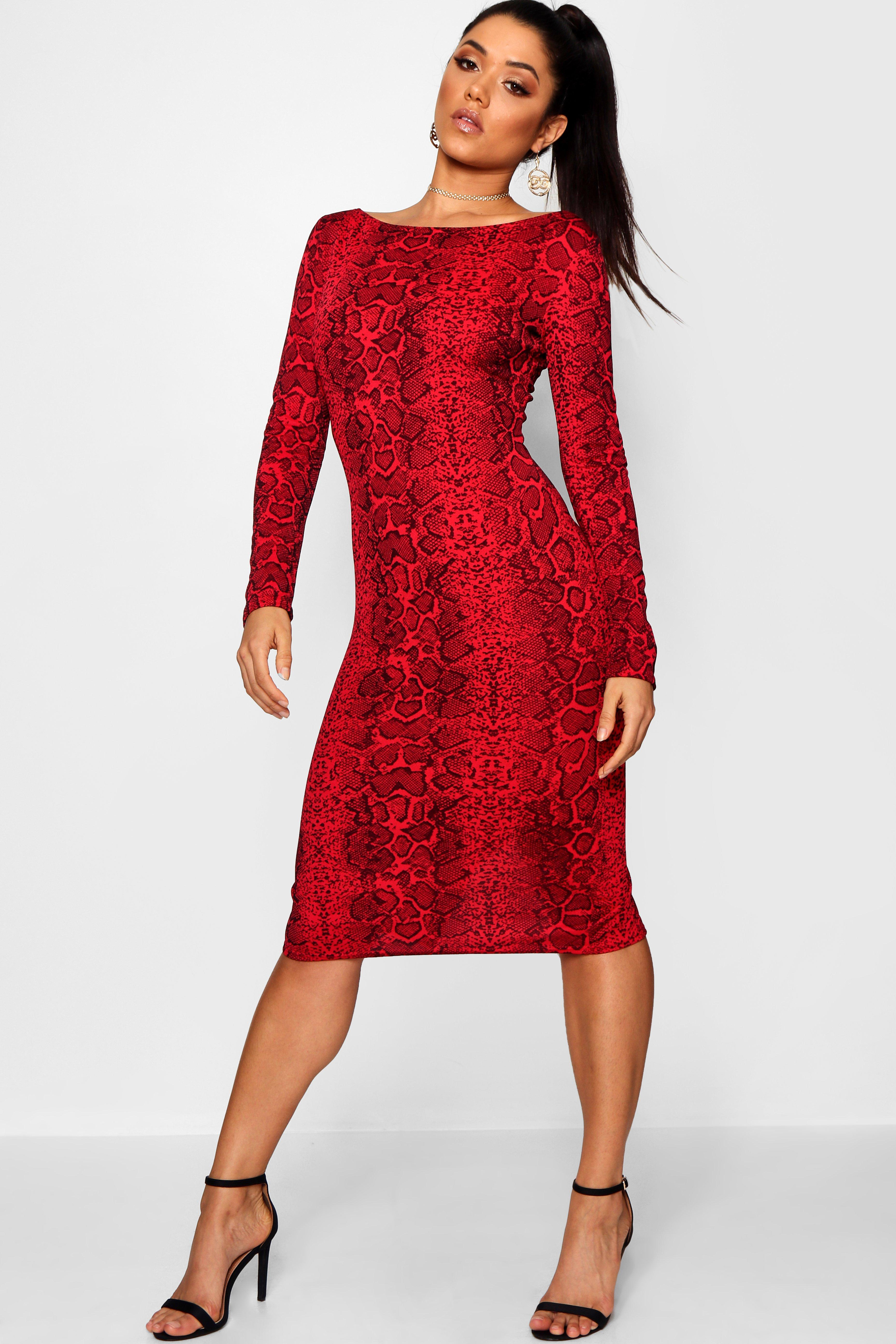 35e18ecbed10 Boohoo Snake Print Bodycon Midi Dress in Red - Lyst