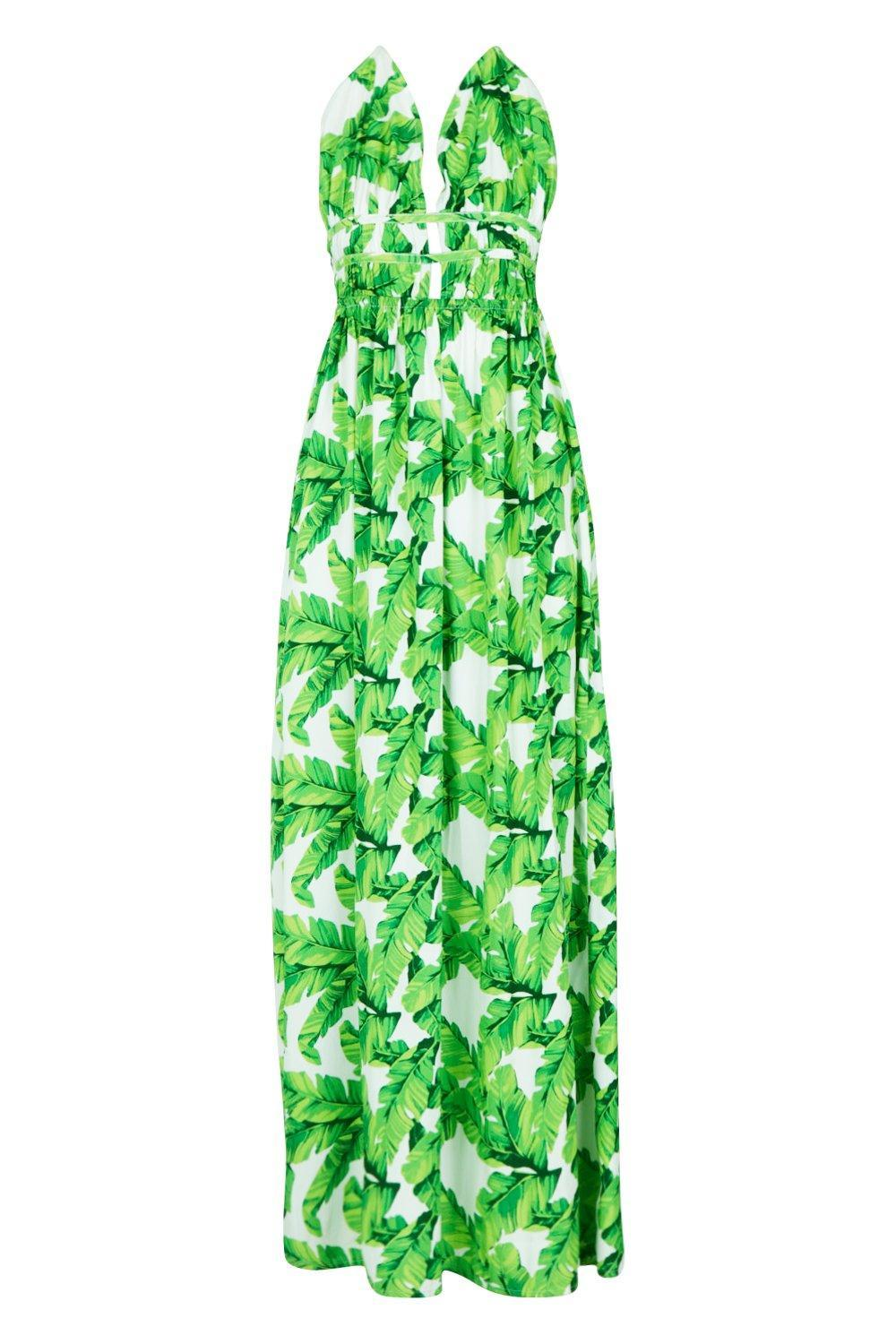 3ba6b5fb9072 Boohoo - White Tall Plunge Front Palm Print Maxi Dress - Lyst. View  fullscreen