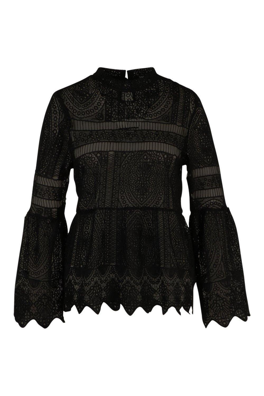 e868f3a4806 Lyst - Boohoo Plus Bridget Crochet Lace Top in Black