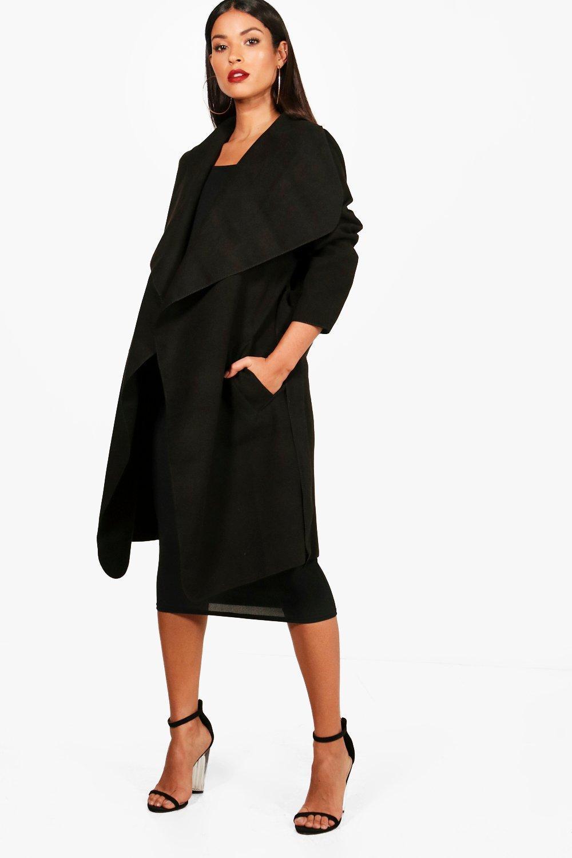 41b3e6bd29ec1 Lyst - Boohoo Maternity Belted Shawl Collar Coat in Black