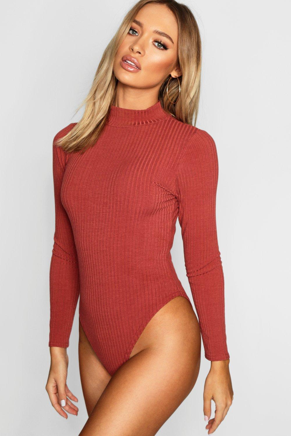69620d35d Boohoo Turtle Neck Long Sleeve Knitted Rib Bodysuit in Red - Lyst