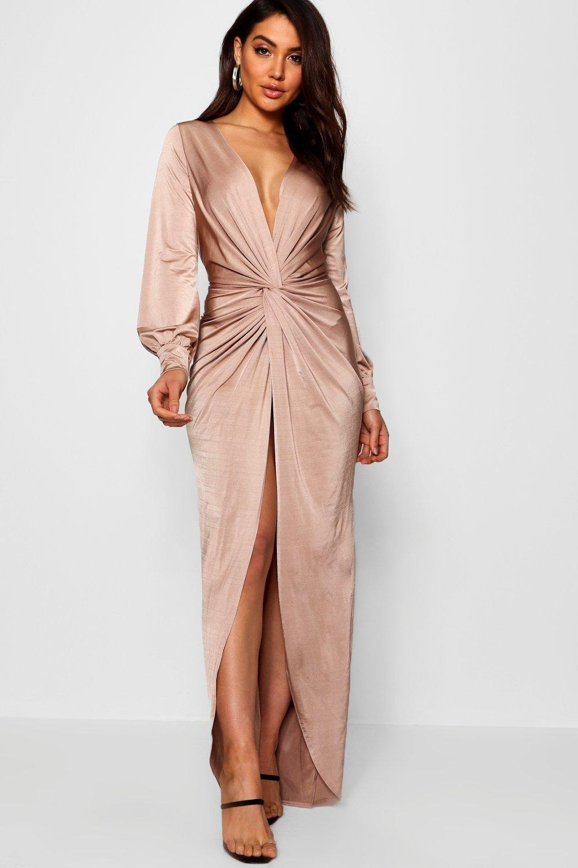 90555faf92f5 Boohoo Daria Twist Front Plunge Slinky Maxi Dress in Pink - Lyst