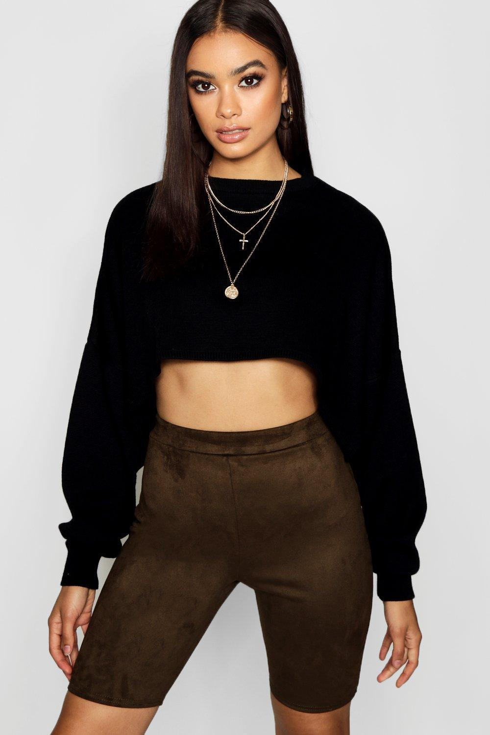 6a86ffe22e2a Lyst - Boohoo Suede Cycling Shorts in Black