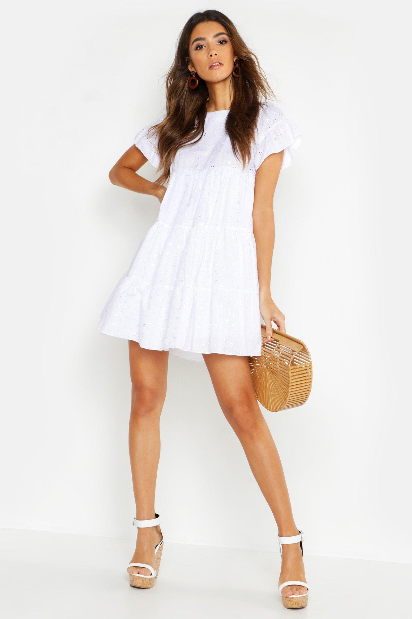 f3275a3e5693 Boohoo Embroidered Smock Playsuit in White - Lyst