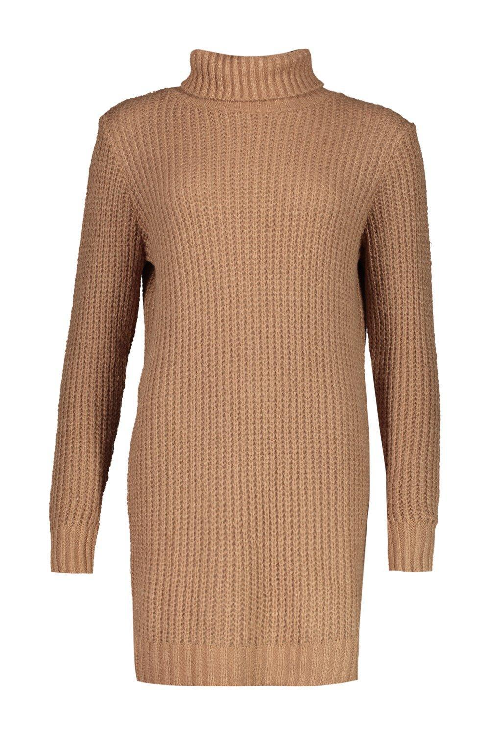 Boohoo - Brown Tall Soft Knit Roll Neck Sweater Dress - Lyst. View  fullscreen daf2555e1