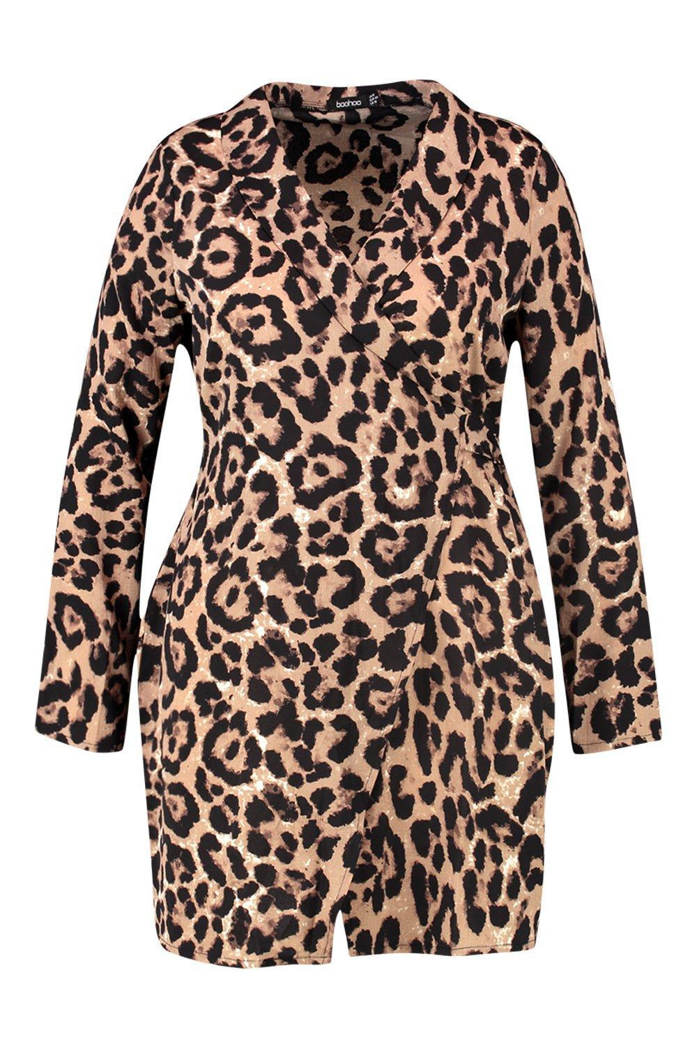 Plus Leopard Wrap Shirt Dress