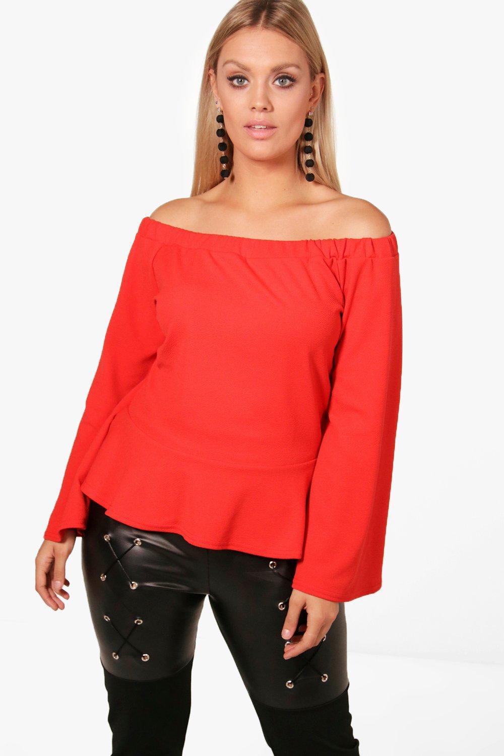 483921445d2ebd Boohoo Plus Lora Off The Shoulder Ruffle Hem Top in Red - Lyst