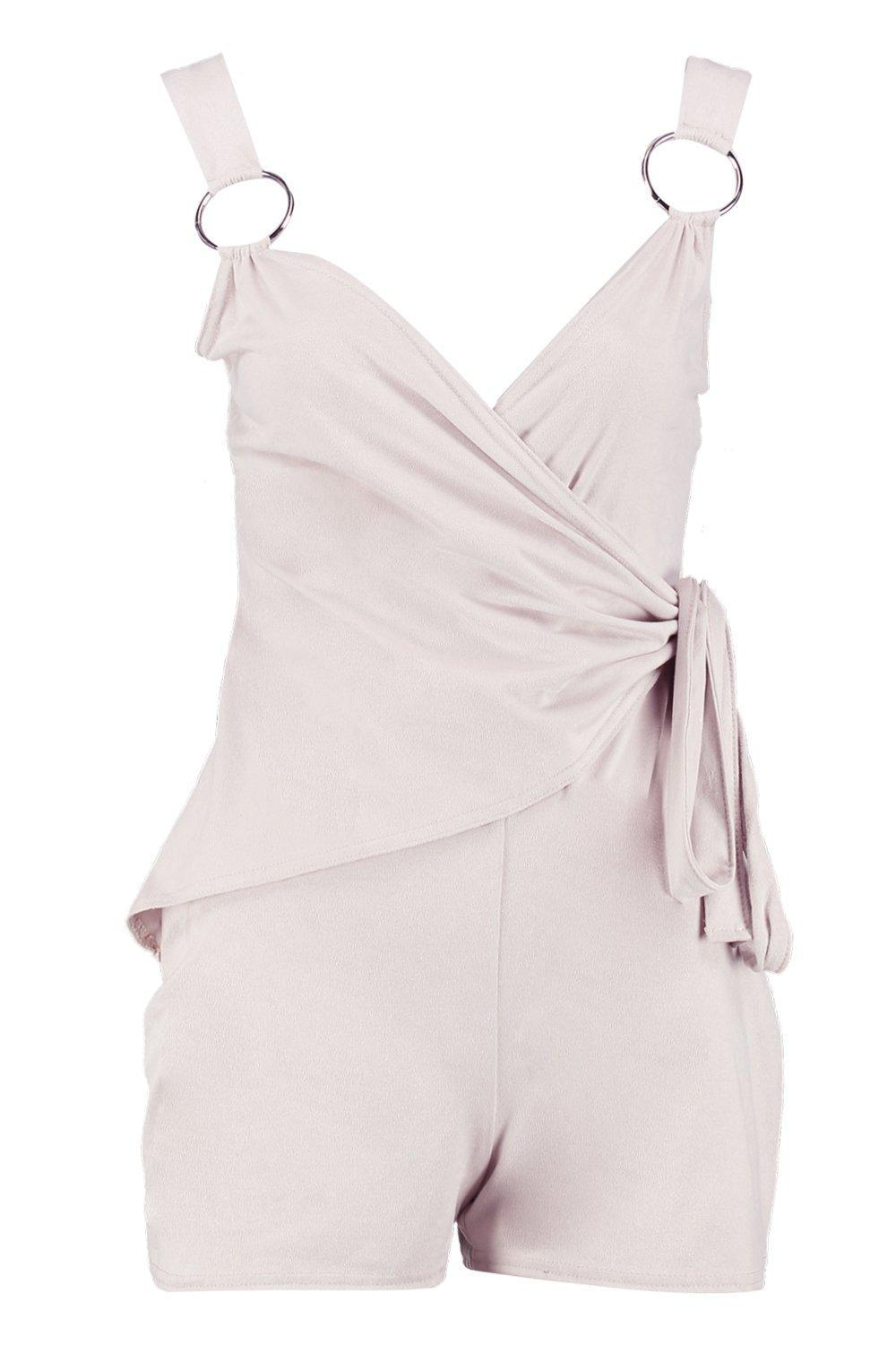 28376b862bf Lyst - Boohoo Hailey Suedette Ring Detail Wrap Over Playsuit