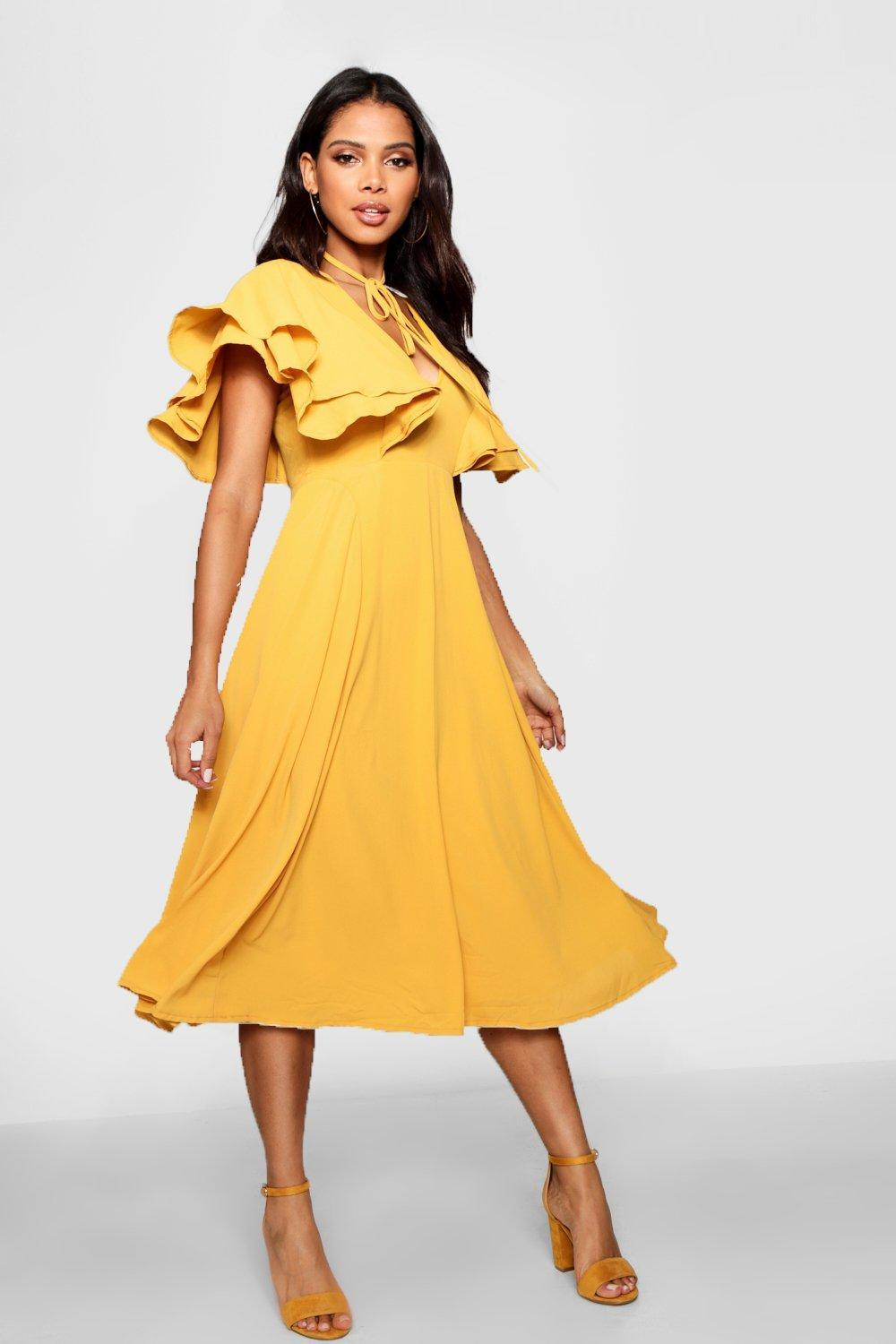 ce3721b20eb8 Boohoo Ruffle Angel Sleeve Bolo Tie Midi Dress in Yellow - Lyst