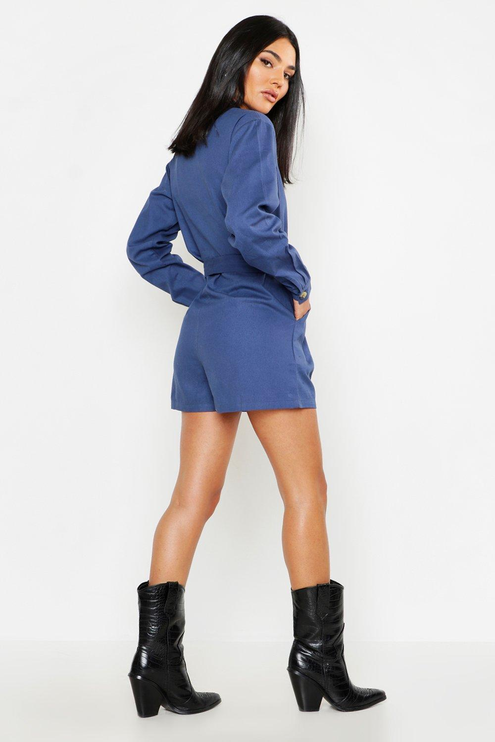 2d45c17e28 Boohoo - Pink Utility Belted Denim Playsuit - Lyst. View fullscreen
