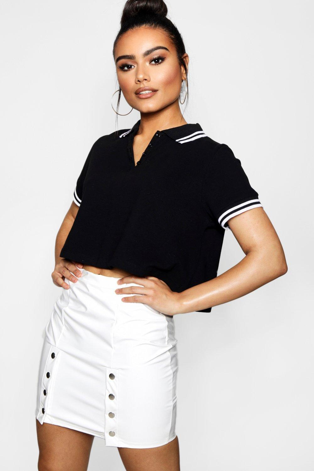 Boohoo Crop Swing Polo Tee Footlocker Online Buy Cheap With Credit Card MU0wx