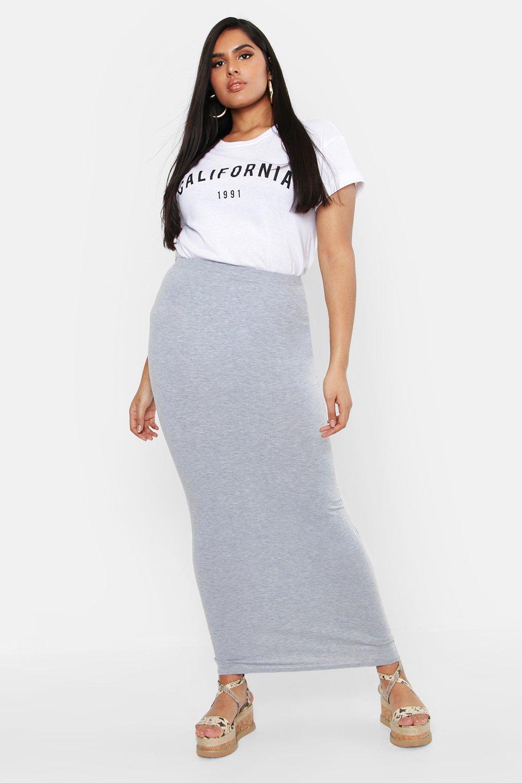 9b9f20e47318 Boohoo Plus Jersey Maxi Tube Skirt in Black - Lyst