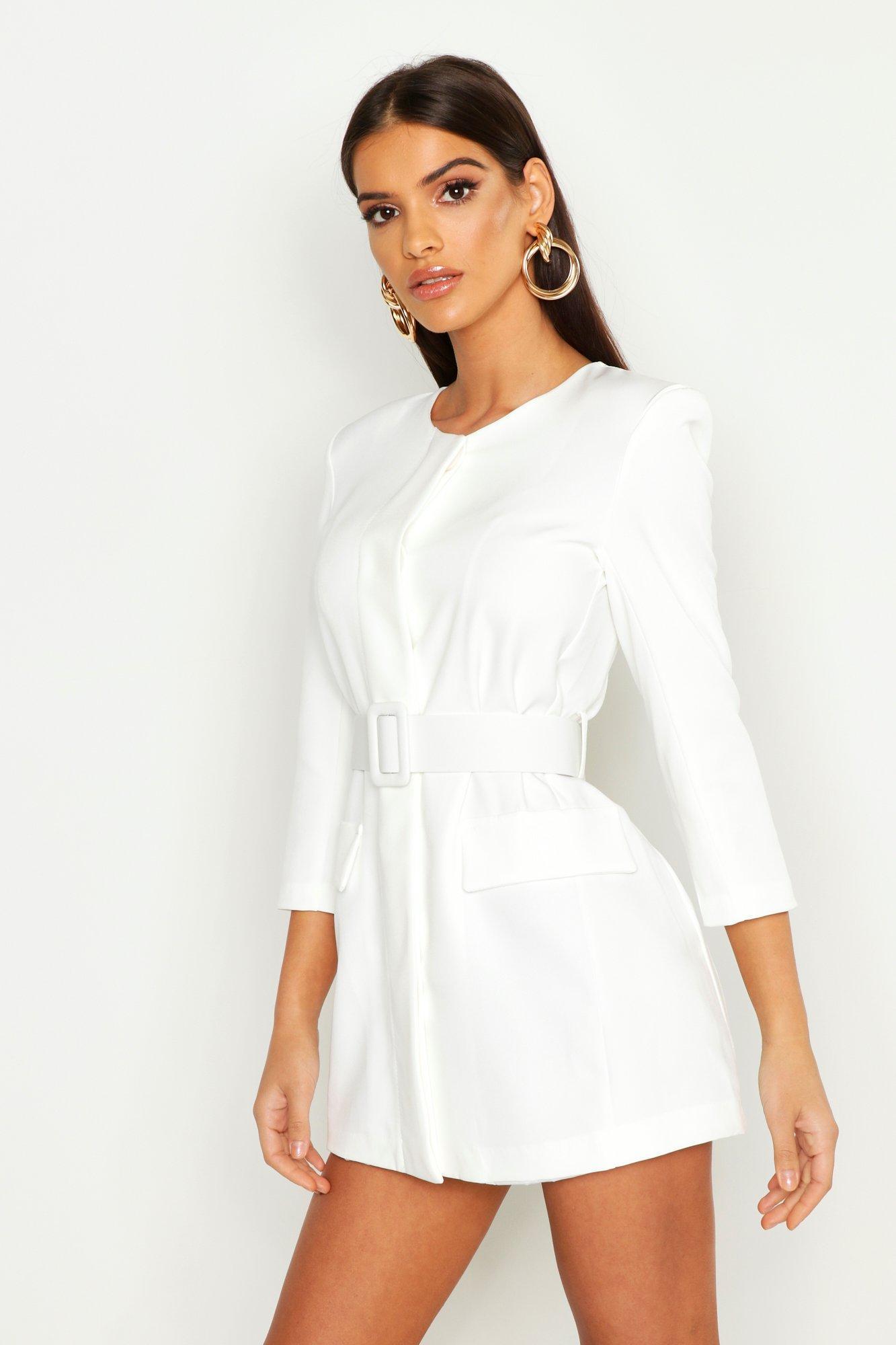 27f96fdbcf2b Boohoo Collarless Self Belt Blazer Dress in White - Lyst