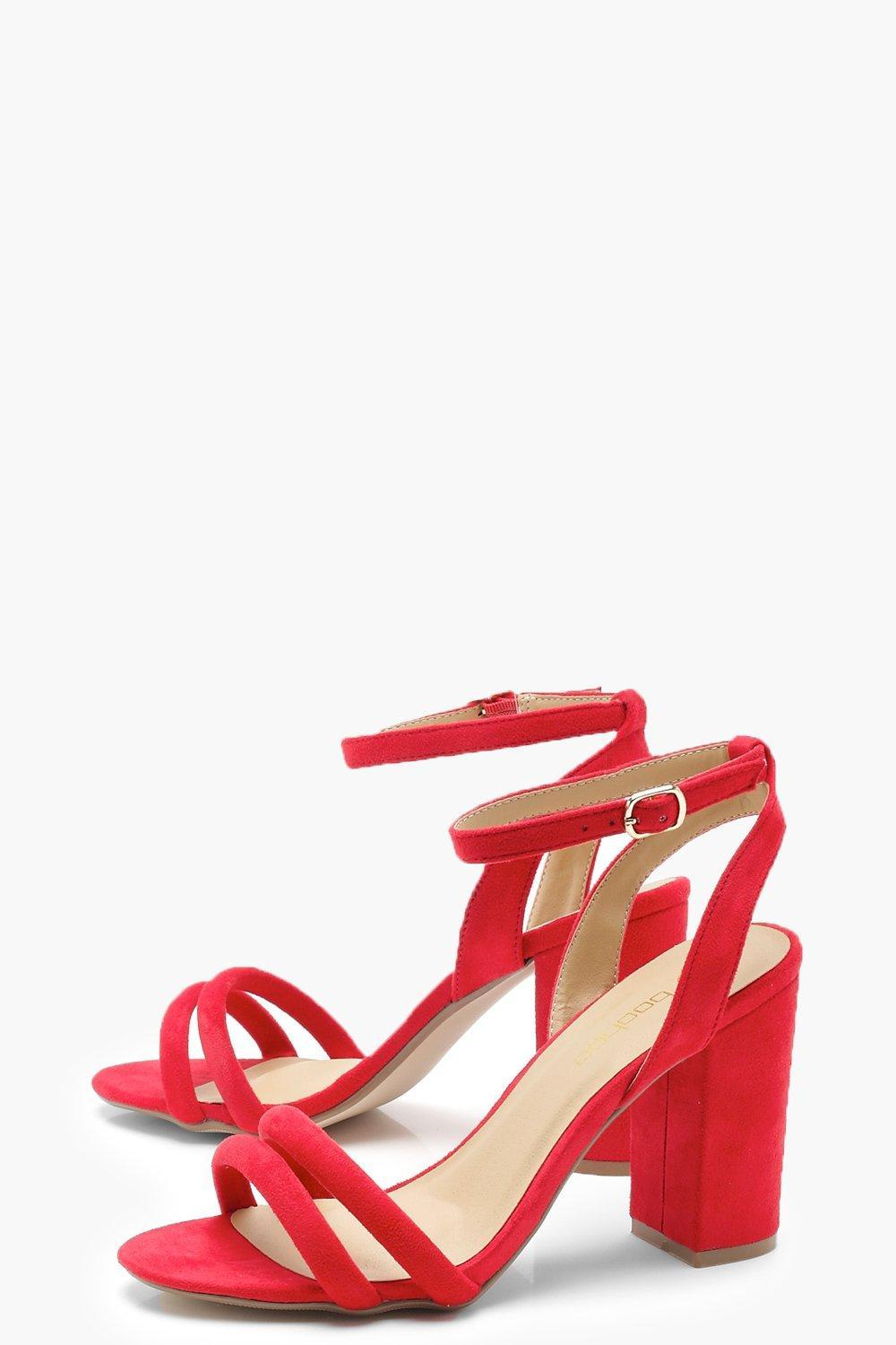 31c0292ade Lyst - Boohoo Double Band Ankle Strap Heels in Red
