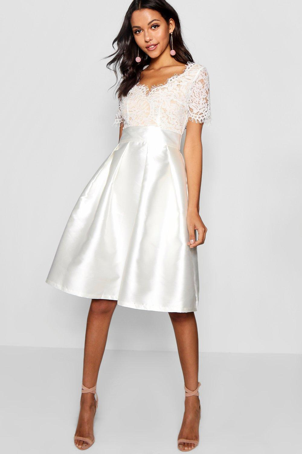Lyst - Boohoo Boutique Eyelash Lace Skater Dress in White 42c874d42