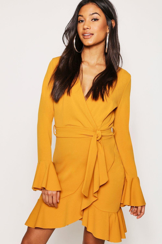 be518f18e43c Boohoo Frill Sleeve Tie Waist Ruffle Hem Tea Dress in Yellow - Lyst