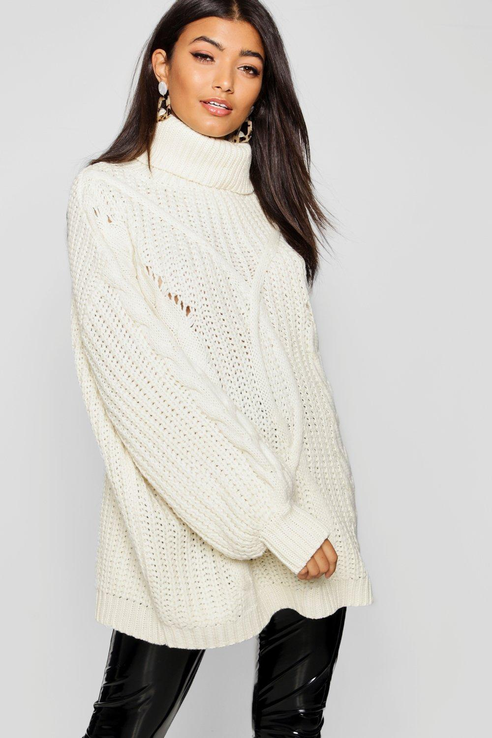 e9324c932abe38 Boohoo Roll Neck Oversized Cable Knit Jumper in Natural - Lyst