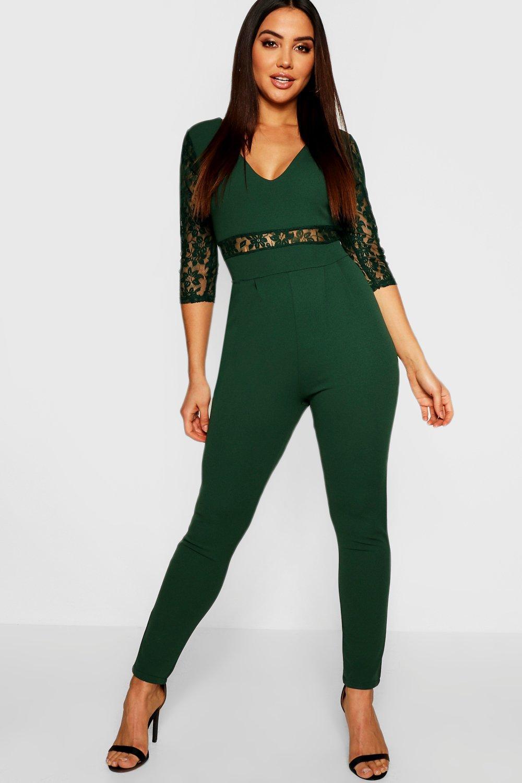 e499b3dc7b Boohoo. Women s Lace Insert And Sleeve Jumpsuit