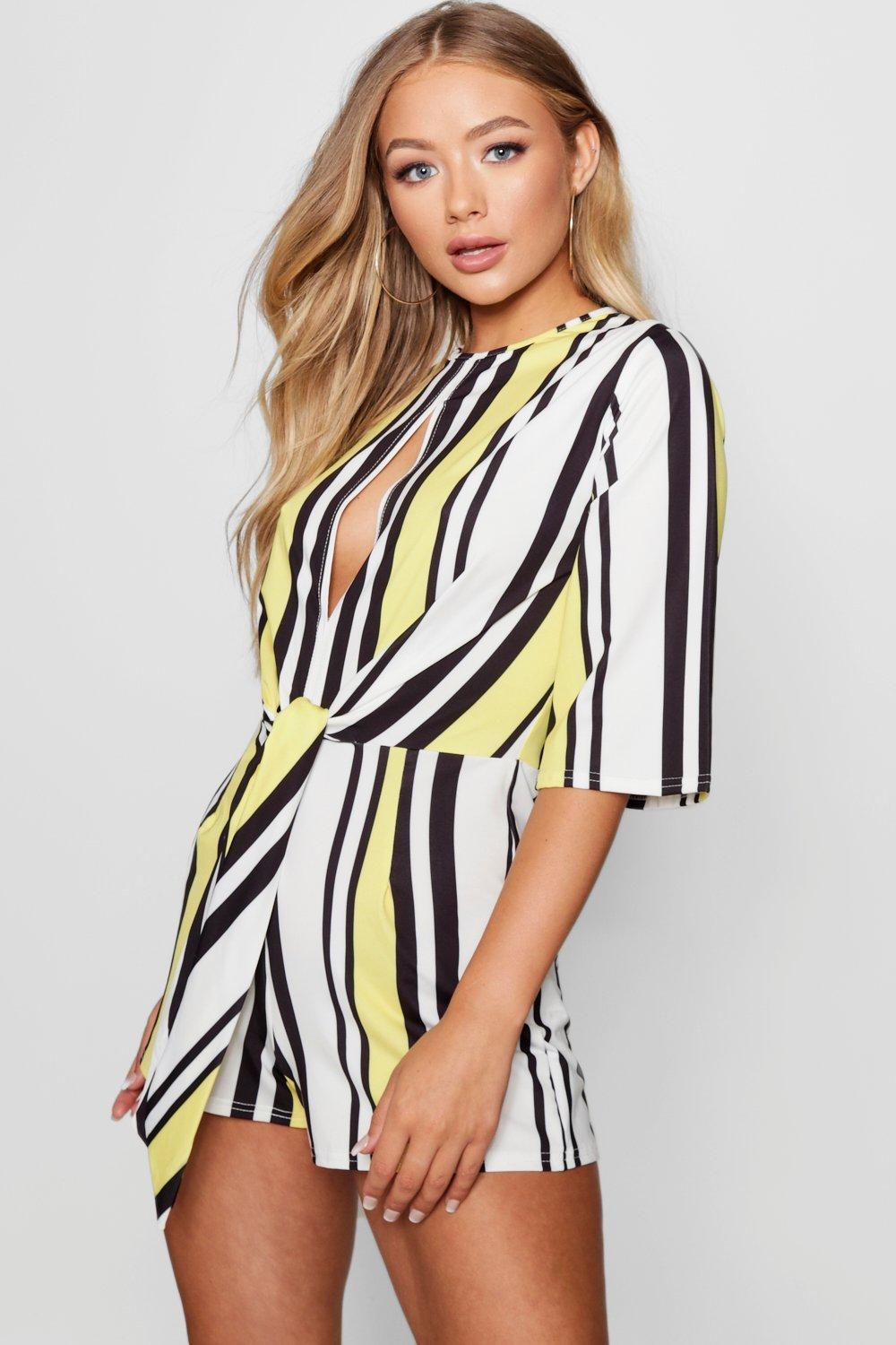 23f98a9901b Boohoo Stripe Knot Front Playsuit in Yellow - Lyst