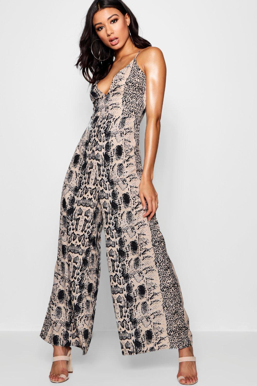 2f1274a5759 Boohoo Snake Print Wide Leg Jumpsuit in Black - Lyst
