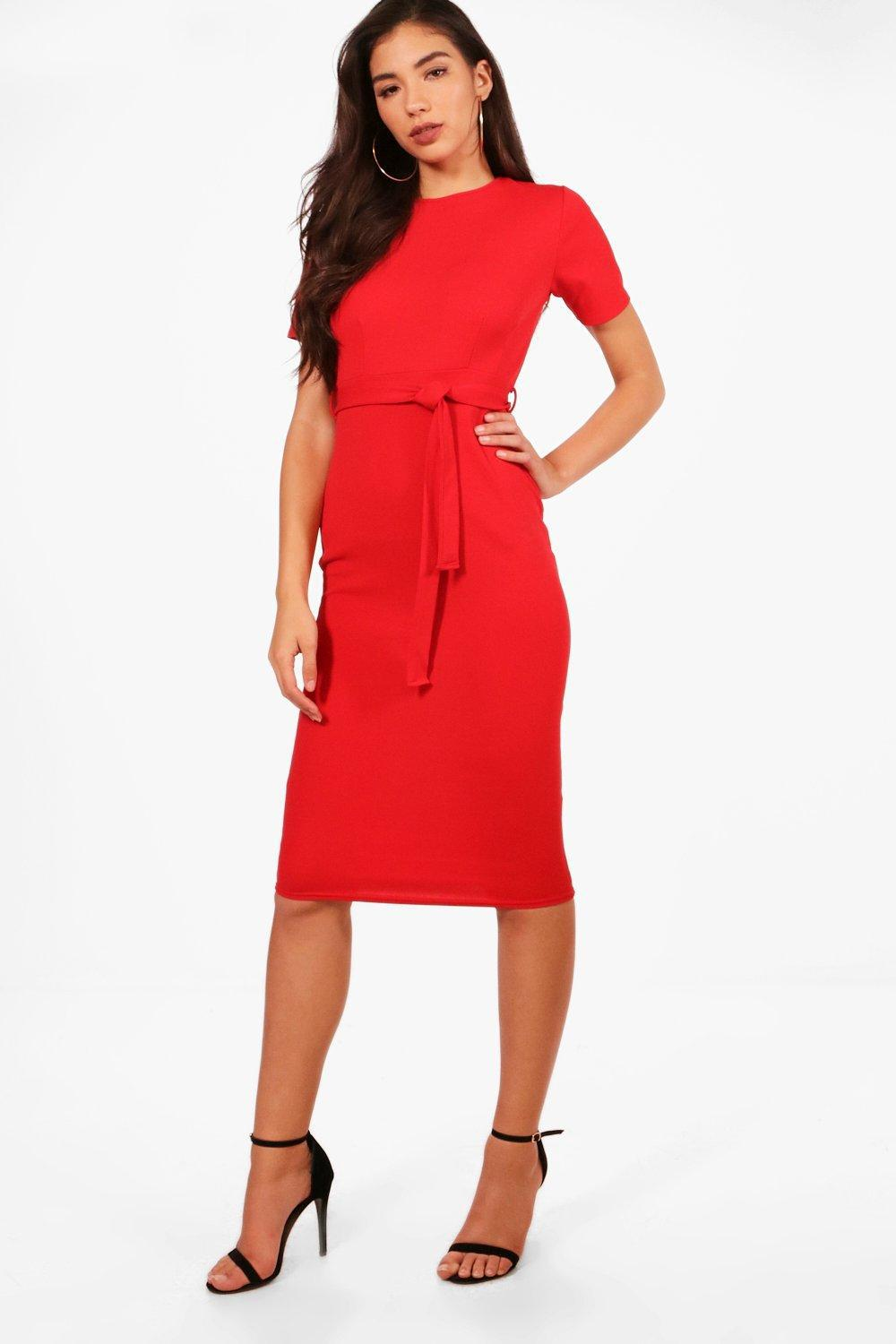 f8a79fc86214d Damenmode Boohoo Womens Pleat Front Belted Tailored Midi Dress